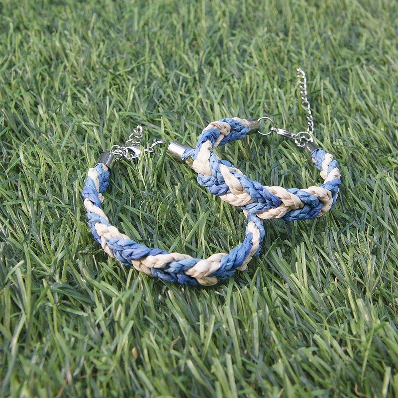 拉菲亞草三色編織手鍊 - 海洋藍
