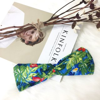 Hawaiian night / blue and green leaves / wide version of elastic hand made hair band