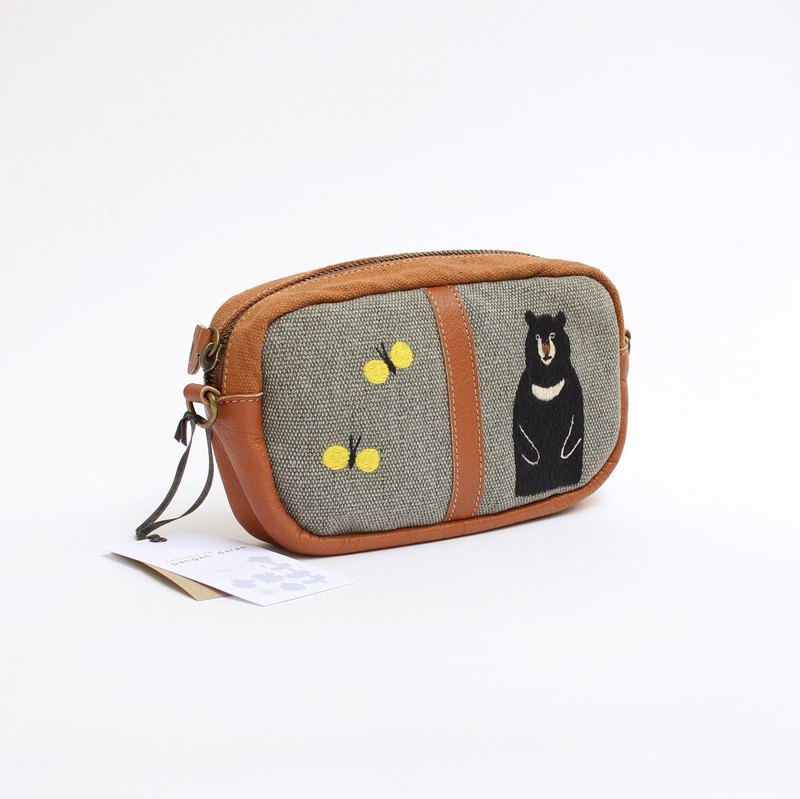 Bear and yellow butterfly embroidery · shoulder pouch