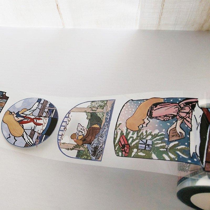 6公分 女孩 PET膠帶-10M / 帶離型紙 +白墨 亮面透明 #21