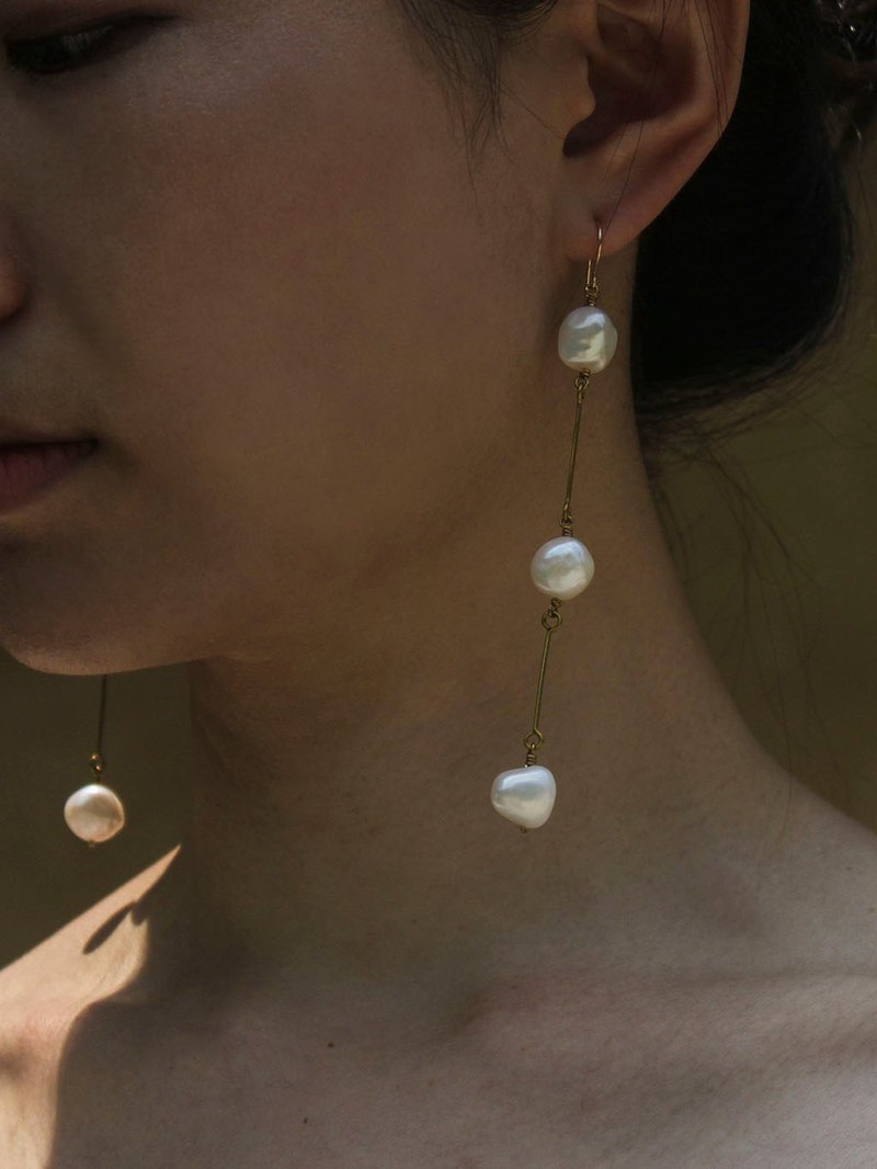 Coco Statement Pearl Drop Earrings - 14K Gold Filled Hooks / Clip-Ons