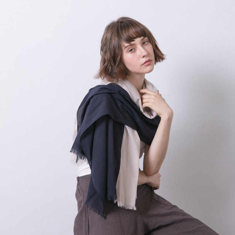 Two-tone cotton scarf - Milky way