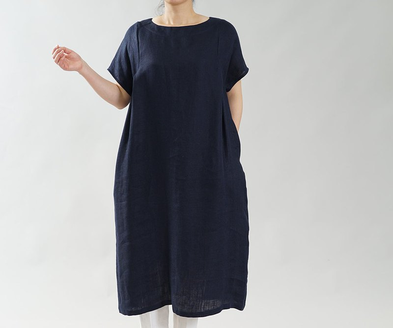 wafu  Linen dress / A-line / midi length / short sleeve / dark navy a083c-dne2