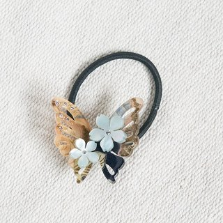 Charming autumn abundance, butterfly hair bundle, hair ring - indigo