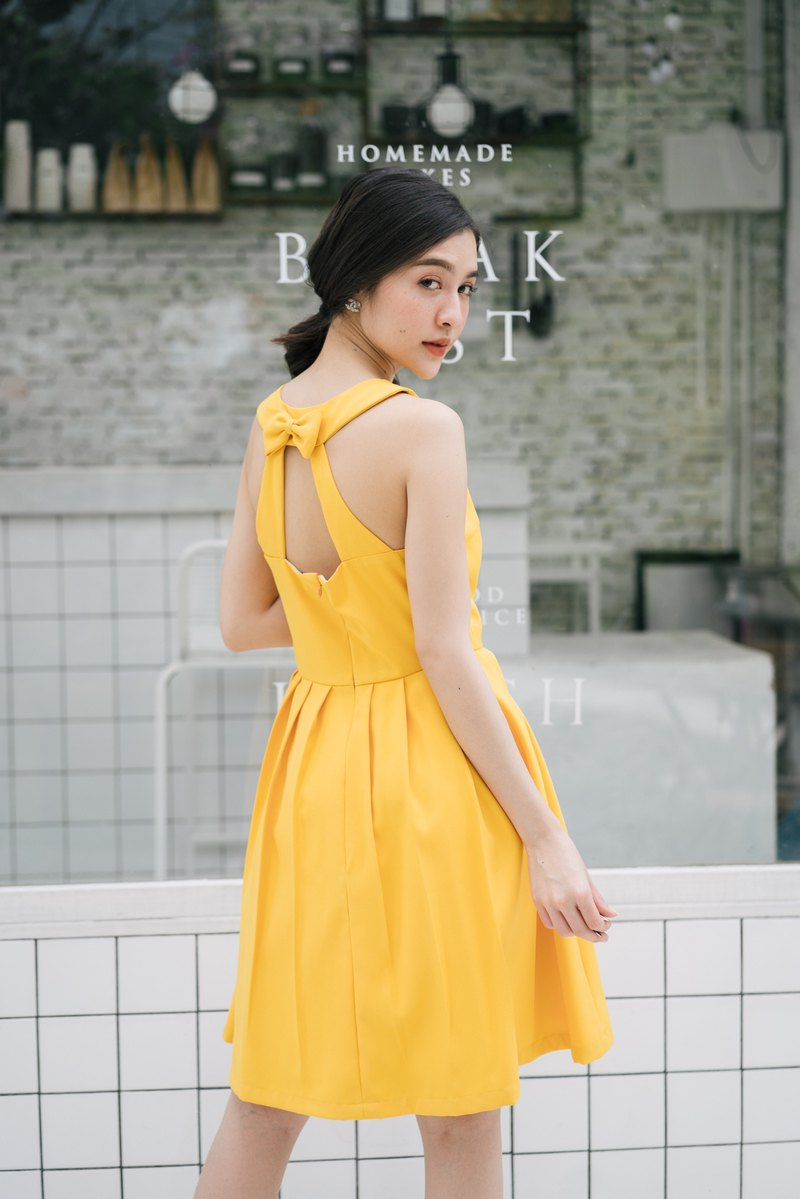 Party Dress Yellow Mustard Dress Backless Dress Vintage Retro -Many color choice