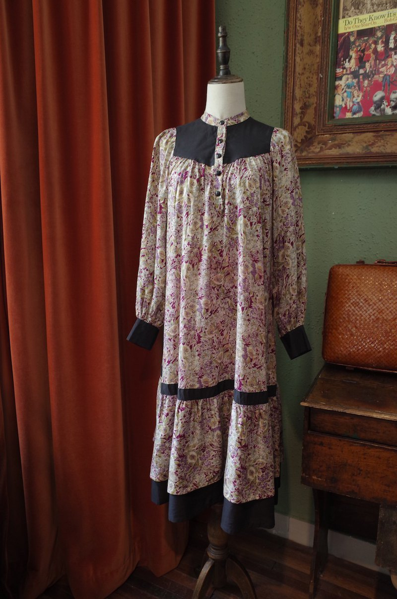 vintage dress printed lantern sleeve dress