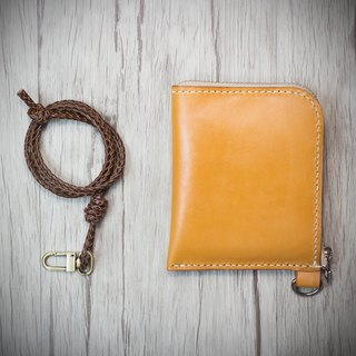 MISTER hand-made leather Italian top hand-sewn leather coin purse / L-shaped coin purse