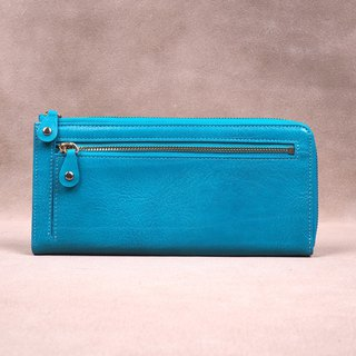 Copy Italian Vegetable Genuine Leather Lady Long Wallet Zipper Wallet Purs Mint