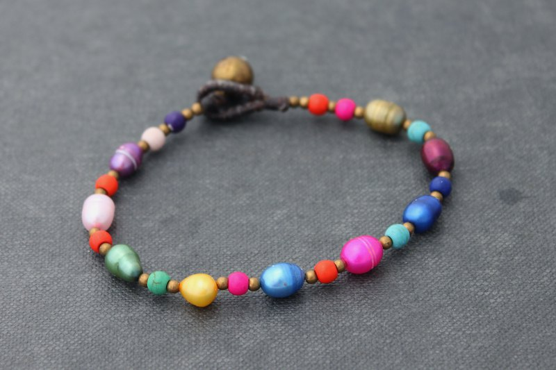 Pearl Color Mix Rainbow Beaded Bracelets Brass Vivid Colorful