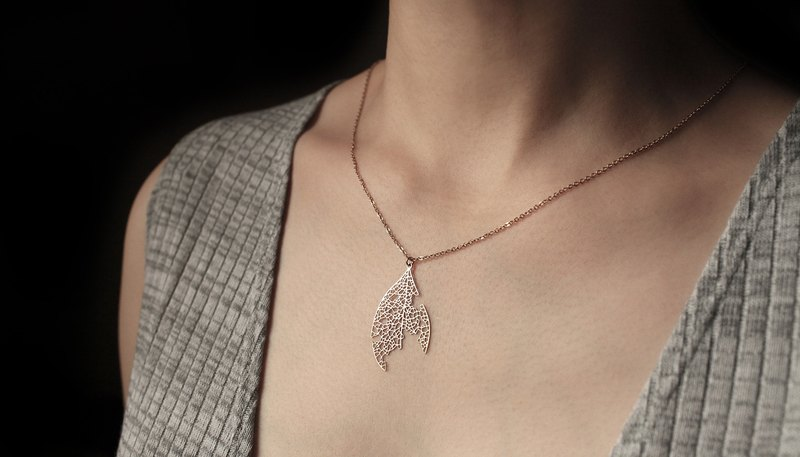 Gold Ash Leaf Necklace S