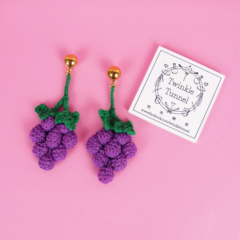 Knitting large grape earrings