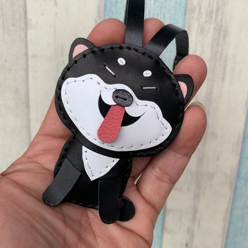 Small size - Cindy the Shiba Inu cowhide leather charm - Black / white