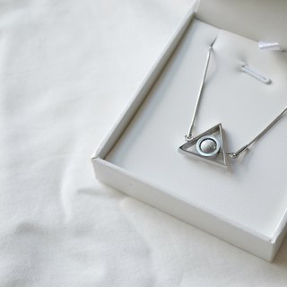 Moon triangle double turn necklace -- silver