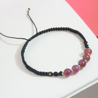 Edith & Jaz • Ruby with Black Cord Bracelet