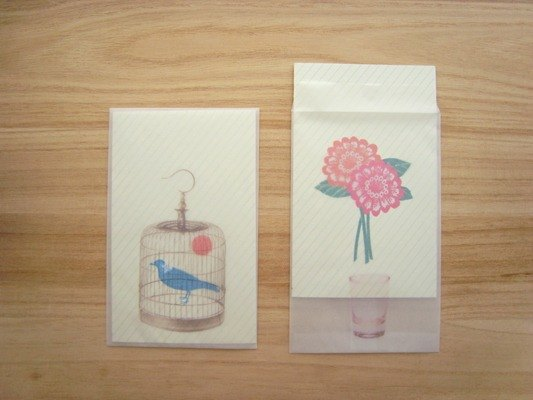 2 message card set (Bird&Flower)