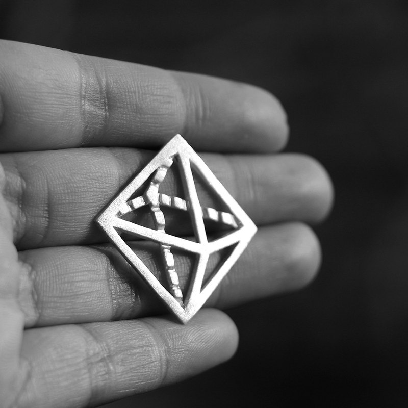 Solid geometry|925 sterling silver original design is tetrahedron, hexahedron, octahedron three-dimensional brooch