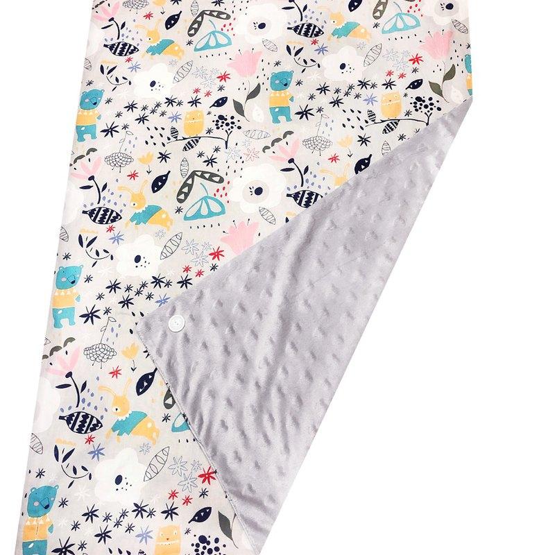 Minky多功能 點點顆粒 攜帶毯嬰兒毯冷氣毯被 灰色-森林
