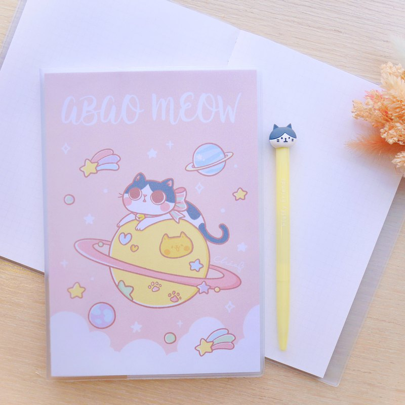 Pink 喵 Planet A5 Grid Notebook / ChiaBB Naked Back Threading