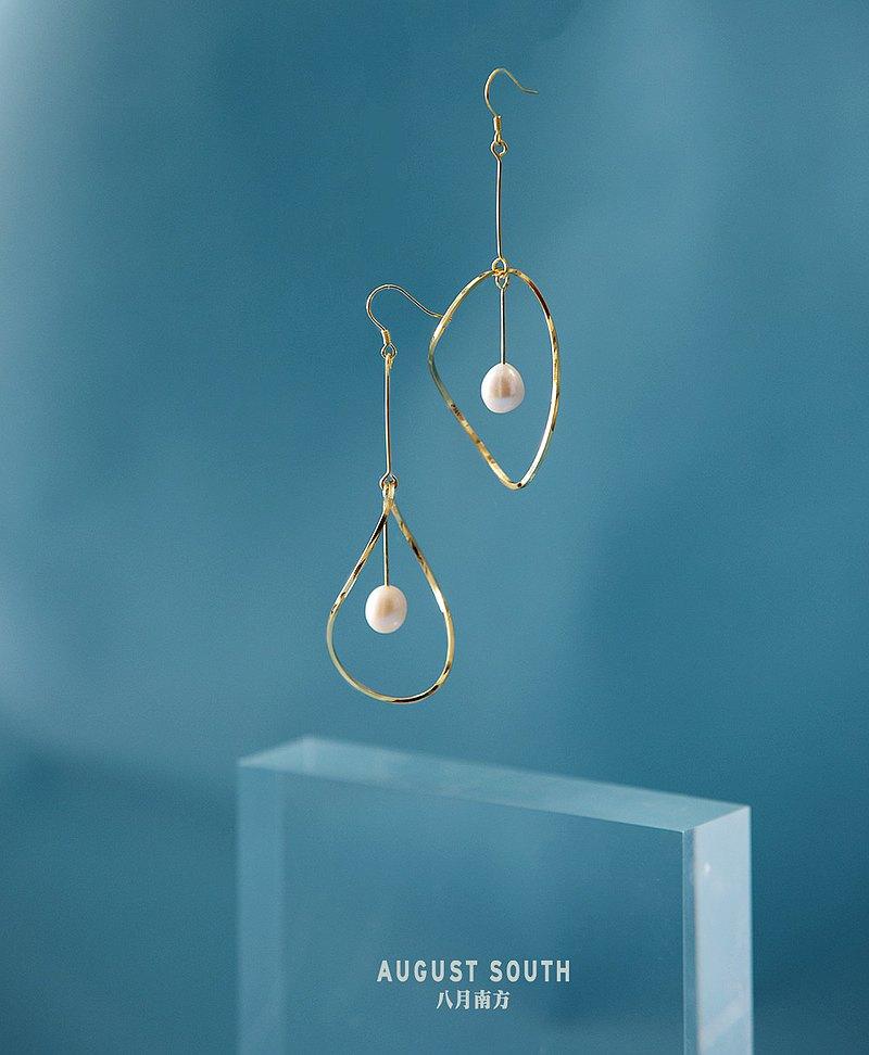 幾何曲線扭扭靈動925銀鍍金耳環可換耳夾淡水珍珠誇張