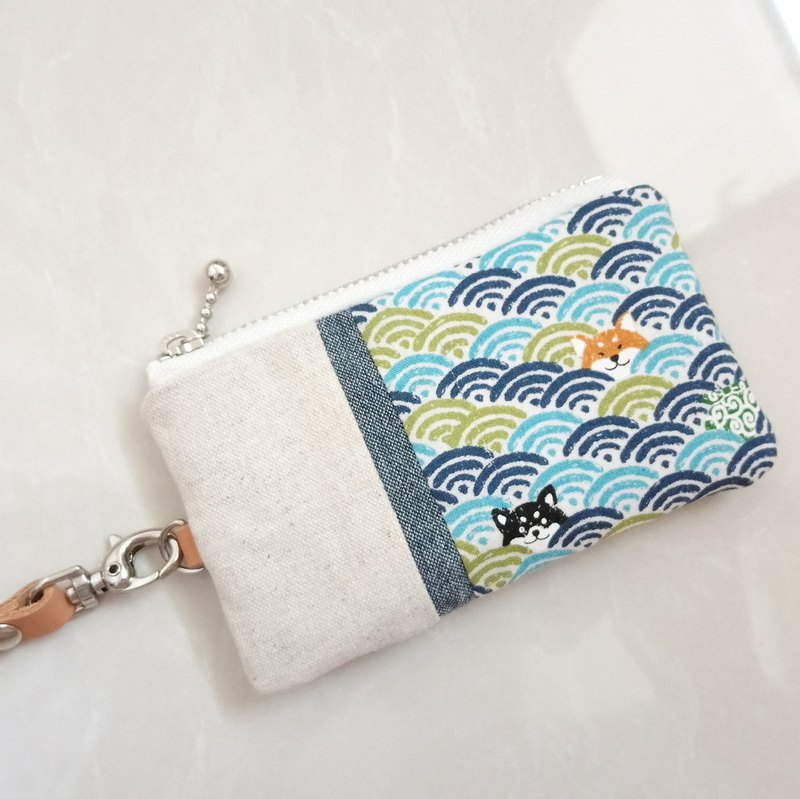 [Fmini / ticket holder / card holder] waves and Shiba Inu