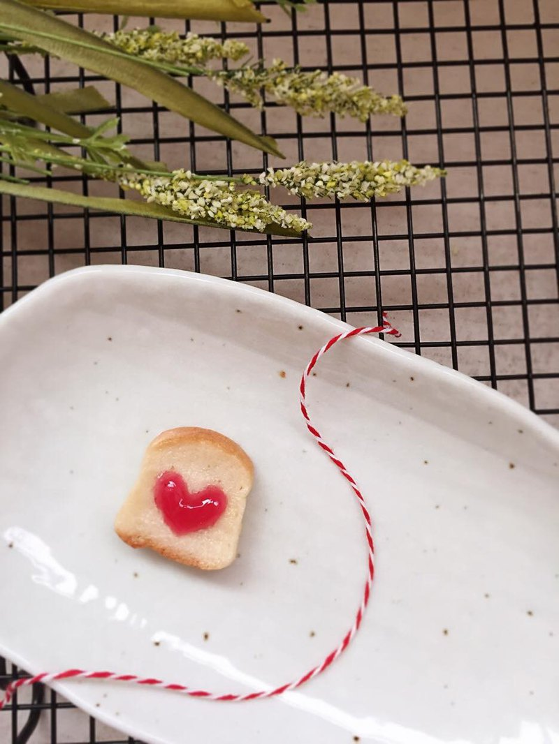 Pocket Bread Magnet / Heart Shaped Strawberry Jam Toast /