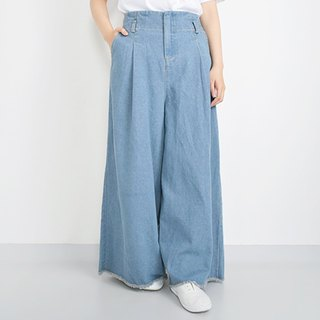 Cutoff Design Denim Wide Pants
