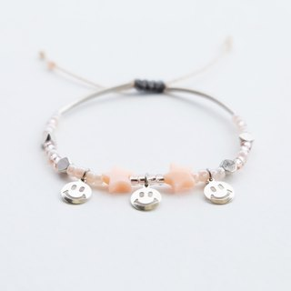 Smiley peach star adjustable string bracelet