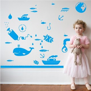 Smart Design Creative wall stickers Seamless ocean water ◆ 8 color options