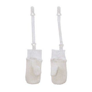 Elegant white wool gloves (with clip chain)