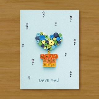 Handmade Roll Paper Card _ Love Love Potted Love You_ Powder Blue...Lover Card