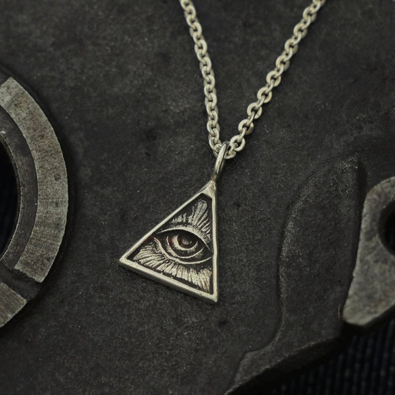 freemason illuminati Vintage silver Pendant Necklace handmade tiny gift masonic