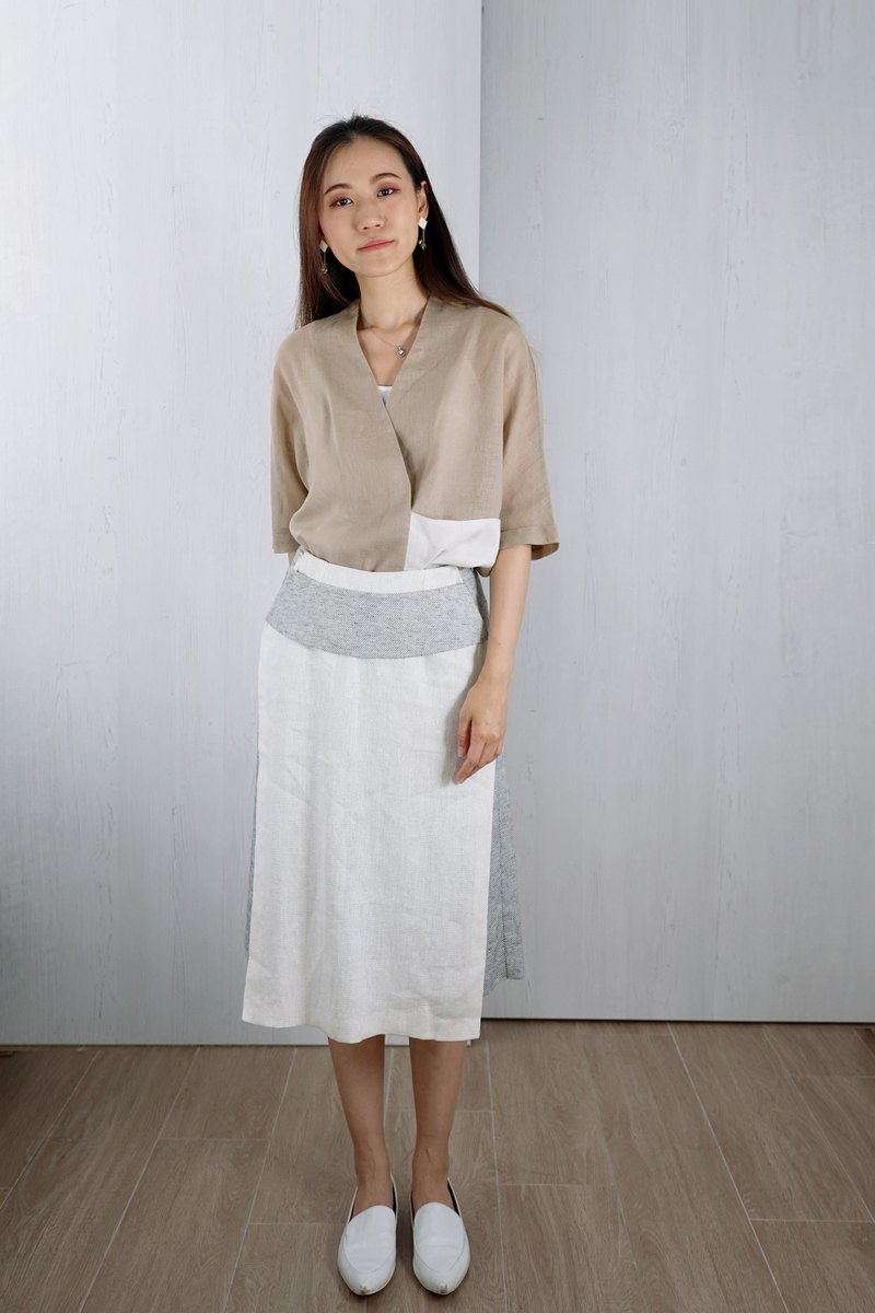 OUD Original. Linen Wide-leg Double Layer Midi Culottes.