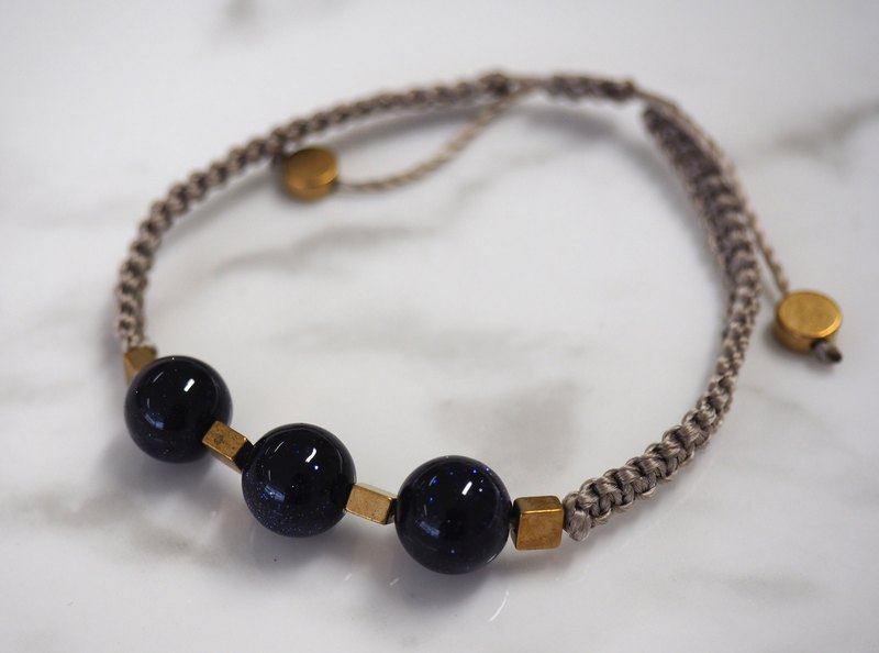 Natural blue sand stone beads hand rope