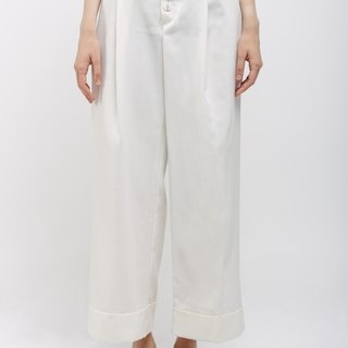 Pleated Pants with Front Buttons Ivory