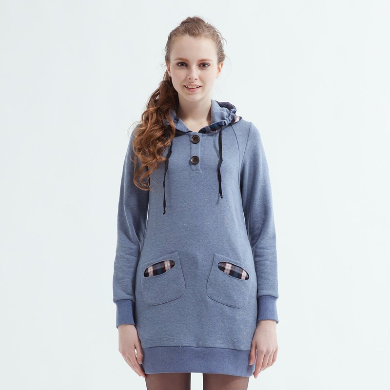 Double Pocket Long Plaid Hooded Cardigan Sweater Dress-Light Blue