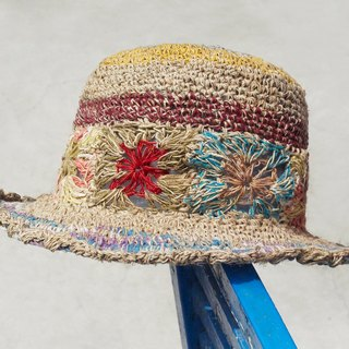 Limited number of hand-woven cotton and linen hat / weaving hat / fisherman hat / straw hat / sun hat / hook hat - play color tropical forest flower weaving