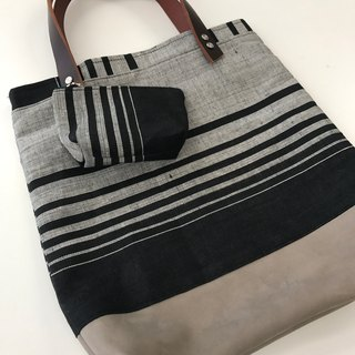 Natural dye handwoven fabric tote bag  (Black and grey)