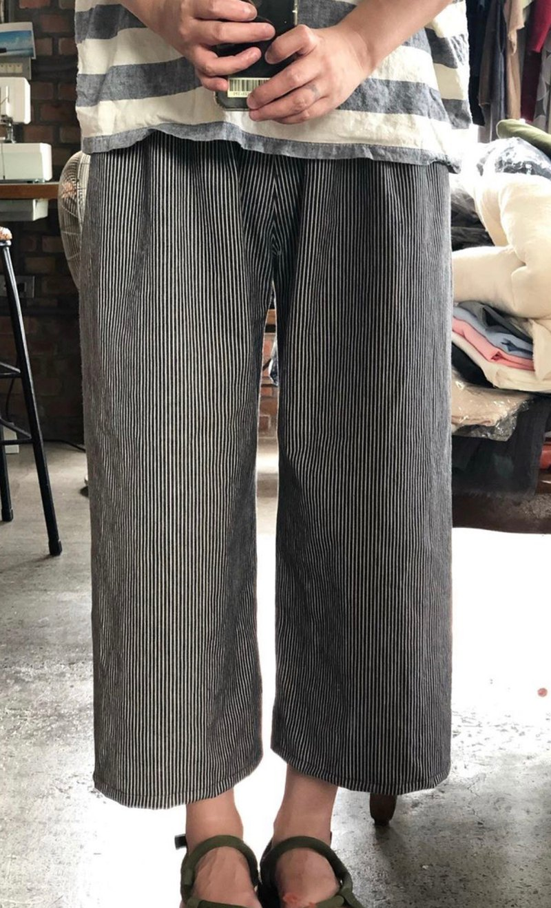 Denim washed in pounds of cotton striped wide pants