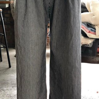 Danning washed pound of cotton striped wide pants