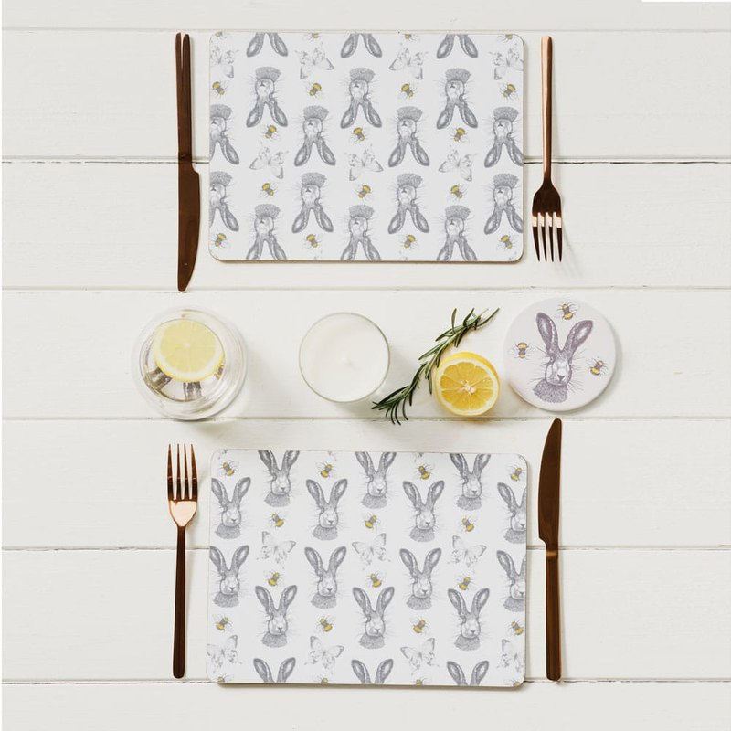 British Gillian Kyle Scottish Rabbit Totem Wood Placemat / Table Mat (a set of two pieces)