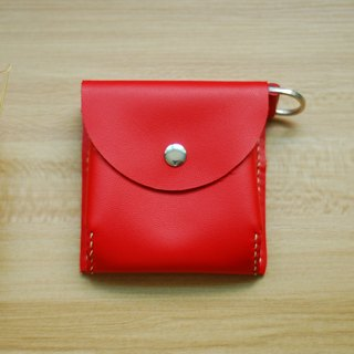 Hand-stitched leather packet change (red)