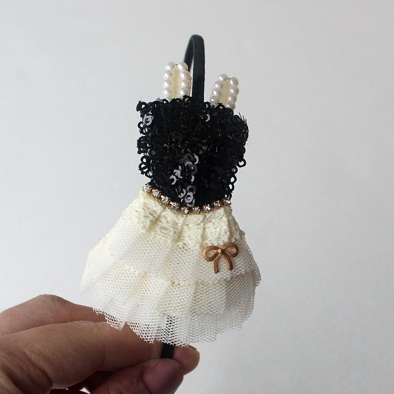 Princess Black mini dress hairband,mini dressカチューシャ,katyusha  for kids