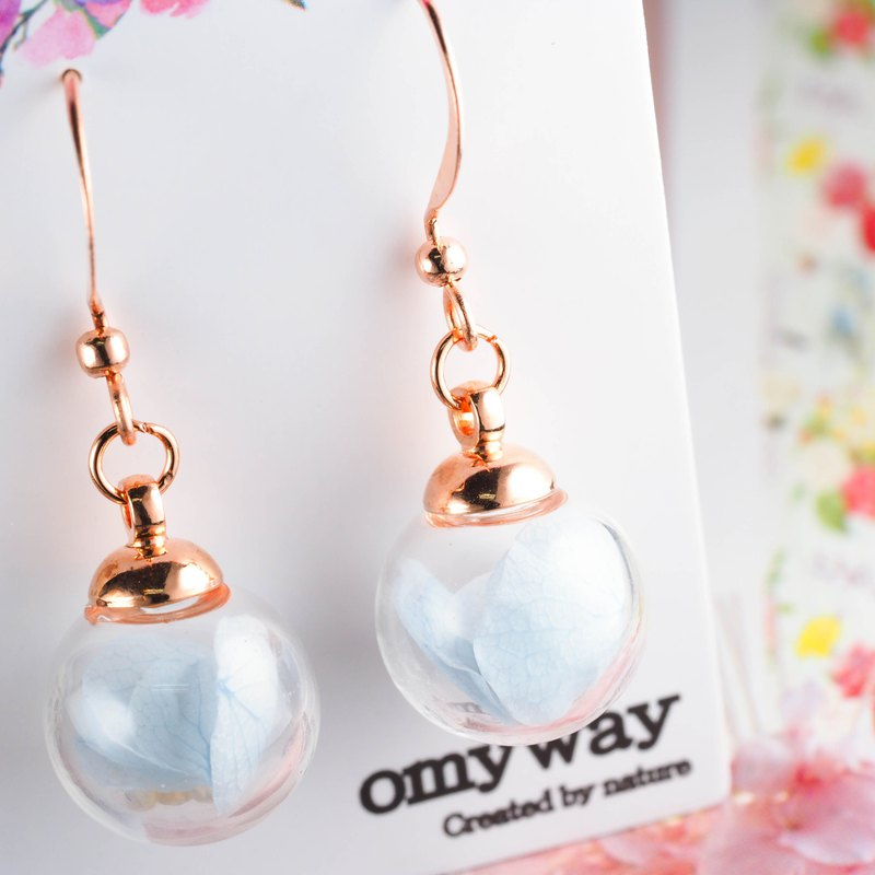 OMYWAY Handmade Dried Flower - Glass Globe - Earrings 1.2cm