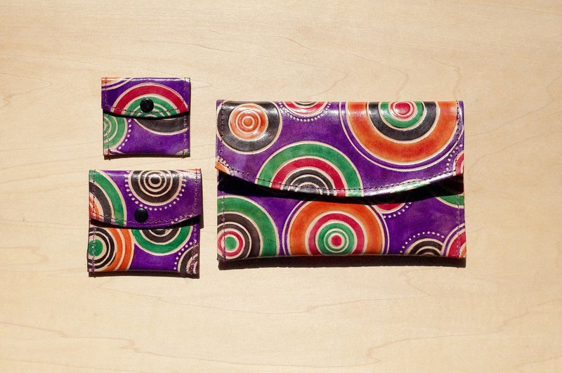 Limited Christmas goat a hand wallet / hand-painted style leather wallet / long wallet - long circular plate pop style (purple)