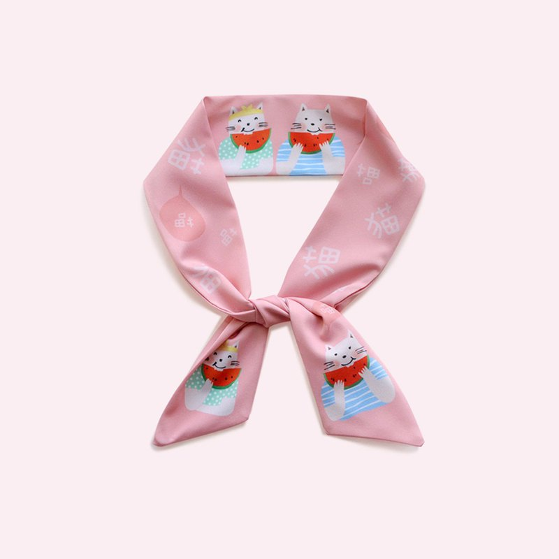 Love to eat watermelon, sweet, wide rabbit ears, headband hair band, Sen collar scarf, silk scarf gift box
