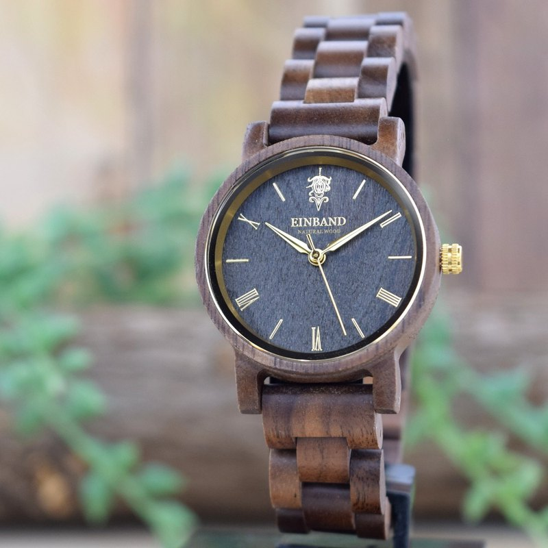EINBAND Reise Walnut & Gold 32mm Wooden Watch