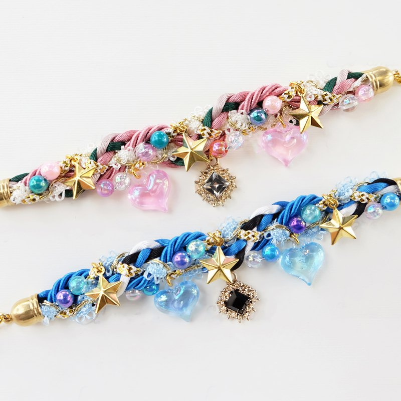 Pastel braided bracelet with hearts and stars