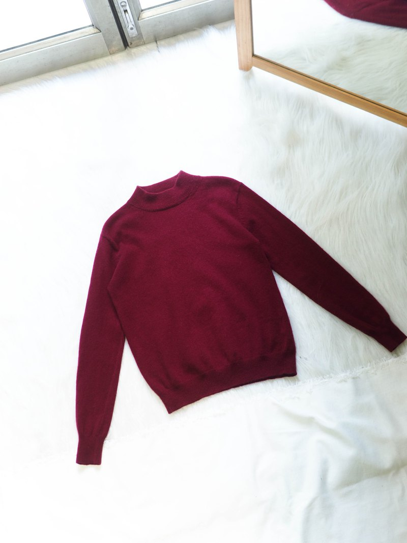 Deep berry red half-collar plain winter time antique cashmere vintage cashmere sweater cashmere