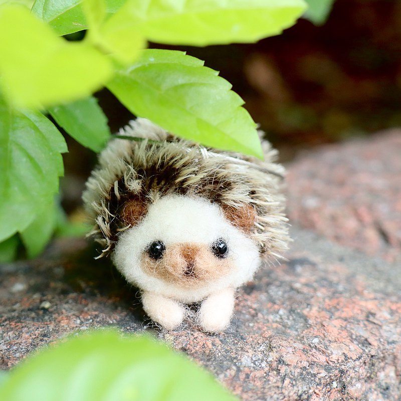 Wool Felt Hedgehog Charm Key Ring