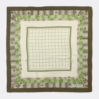 Green brown plaid antique silk scarf BH0010